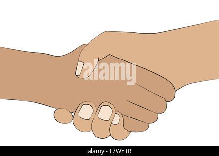 Handshake zwei Menschen Hände schütteln auf weißem Hintergrund Vektor-illustration EPS 10 isoliert - Stockfoto