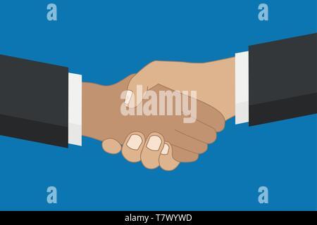 Konzept der Partnerschaft zwei Menschen die Hände auf blauem Hintergrund Vektor-illustration EPS 10 Schütteln - Stockfoto