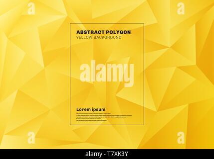 Abstrakte low Polygon oder Dreiecke Muster auf gelber Senf Hintergrund und Textur. Geometrische Muster. Vector Illustration - Stockfoto