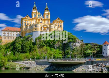 Donau und Kloster Melk, Österreich - Stockfoto