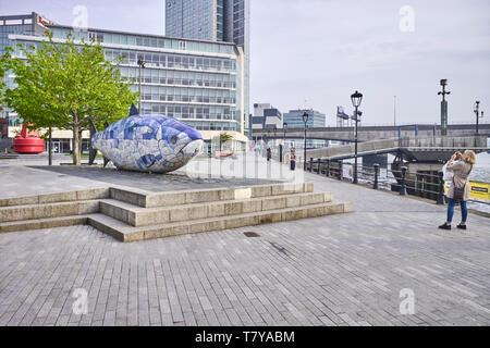 Die Lachse des Wissens Skulptur von John Freundlichkeit in Donegall Street, Belfast, Nordirland - Stockfoto