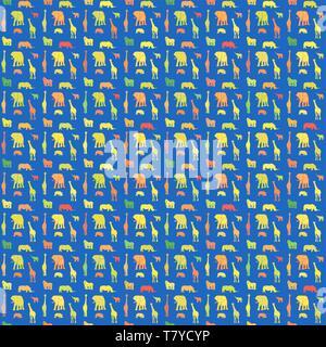 Nahtlose bunten Drucken Tiere Muster auf Blau. Gut gestaltete handgezeichnete Silhouetten Druckvorlage für Textildesign. - Stockfoto