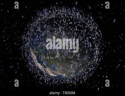 Low Earth Orbit Space Junk - Stockfoto