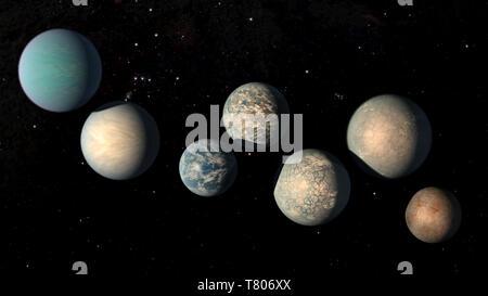 Erdähnliche Exoplaneten, TRAPPISTENBIER-1 - Stockfoto