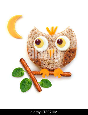 Eier und Toast Eule food Art - Stockfoto