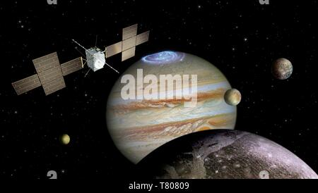 Jupiter Icy Moons Explorer Mission JUICE, Artwork - Stockfoto