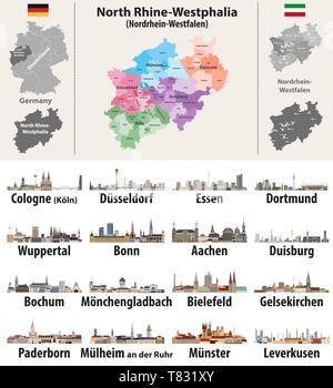 Bundesland Karte Mit Städten.Deutschland Bundesland Nordrhein Westfalen Hoch Detaillierte Vektor