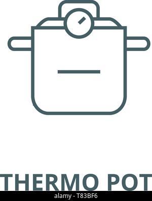Thermo Topf vektor Symbol Leitung, lineare Konzept erläutern, Zeichen, Symbol - Stockfoto