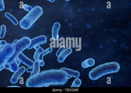 3D-Rendering, infektiöse Virus mit Oberflächenstrukturen auf blauem Hintergrund. Computer digitale Bild. - Stockfoto