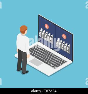 Wohnung 3 d isometrische Geschäftsmann stand vor der Laptop mit zwei Schritt Überprüfung des Kennworts. Mehrstufige oder Duo Authentifizierung und Datenschutz c - Stockfoto