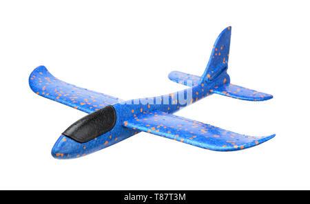 Blaue Schaum Segelflugzeug Flugzeug isoliert auf weißem - Stockfoto