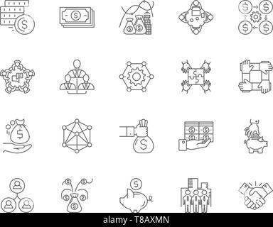 Investment trusts Zeile für Symbole, Zeichen, Vektor, Abbildung: Konzept - Stockfoto