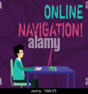 Handschrift text Online Navigation. Konzeptionelle Foto ein Netzwerk von Informationen Ressourcen navigieren im Web Geschäftsmann sitzen gerade auf Stuhl nicht - Stockfoto