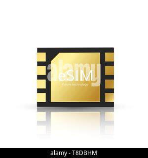 ESIM modern und tetechnology der Zukunft. Embedded SIM-Karte symbol Konzept. GSM-Mobilfunknetz simcard. Vector Illustration - Stockfoto