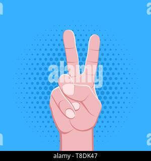 Vektor symbolische zwei Finger männliche Faust hand Sieg Geste Konzept Zeichen vintage Abbildung Retro Poster Design auf blau gepunkteten Hintergrund isoliert - Stockfoto