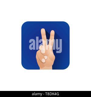 Vektor symbolische zwei Finger männliche Faust hand Sieg Geste Konzept zeichen Abbildung licht Symbol poster Design auf blauem Hintergrund isoliert - Stockfoto