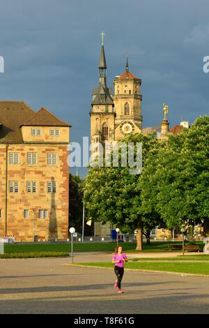 Deutschland, Baden Württemberg, Stuttgart, Schlossplatz (Schlossplatz), Stiftskirche (stifskirche) - Stockfoto