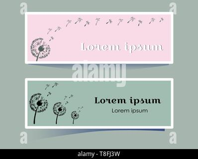 Stilvolle horizontale Banner mit Löwenzahn Blume auf rosa und grauen Hintergrund. Silhouette Pflanzen durch den Wind im Stil einer Skizze geblasen. Mit Platz - Stockfoto