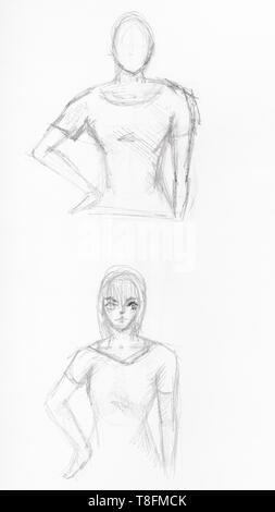 Skizzen von Mädchen, Hände auf Taille von schwarzen Stift auf weißem Papier gezeichnet - Stockfoto