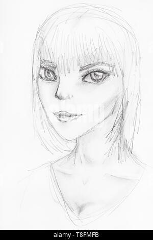 Skizze der anthropomorphen Mädchen mit großen Augen mit von Hand von schwarzen Stift auf weißem Papier gezeichnet - Stockfoto
