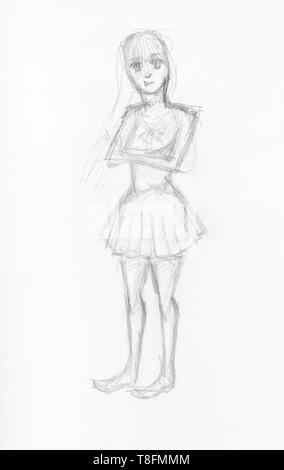 Skizze der Mädchen im kurzen Kleid von schwarzen Stift auf weißem Papier gezeichnet - Stockfoto
