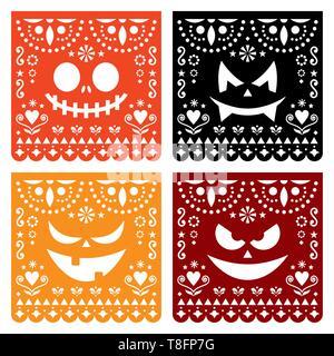 Halloween Papel Picado Design mit Kürbis unheimlich Gesichter, mexikanische Papier schneiden Sie Muster Kollektion - Dia de Los Muertos, Tag der Toten - Stockfoto