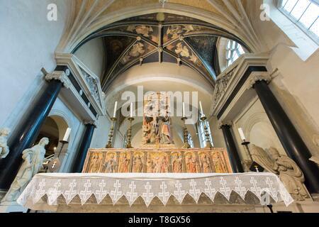 Frankreich, Meurthe et Moselle, Nancy, Franziskaner Kirche auch genannt Saint Francois des Cordeliers Kirche ist Teil des Musée Lorrain (Lorrain Museum), altargemälde von Saint Fiacre Kirche und über dem Fresko aus dem 16. Jahrhundert zugeschrieben, Hugues de La Faye namens Les Anges de la Passion (Engel der Leidenschaft) - Stockfoto