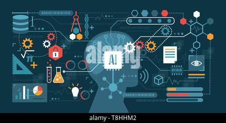 Künstliche Intelligenz zu einem Netzwerk von Symbolen verbunden: Problemlösung, Entscheidungsfindung und Produktivität Konzept - Stockfoto