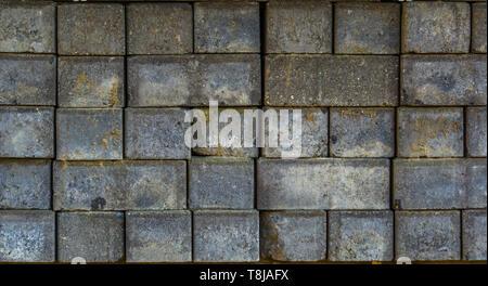 Stein Muster von gestapelten Rock, Hintergrund der grauen Ziegeln, Flächenfertiger - Stockfoto