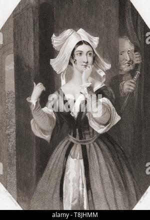 Frau Seite. Wichtigste weibliche Figur aus Shakespeares Die lustigen Weiber von Windsor. Von Shakespeare Gallery, veröffentlicht C 1840. - Stockfoto