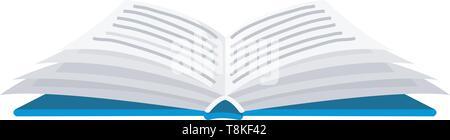 Buch für Liebhaber der Literatur zu öffnen. Lexika zum Lesen. Invertiert Seiten. Objekt in zeitgenössischem Stil. Vector Illustration für Poster. - Stockfoto