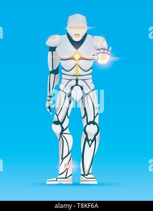 Stilvolle Cyborg Mann. Humanoide Roboter mit künstlicher Intelligenz, KI. Charakter Gesten zeigt. Android männlich, futuristischen Vector Illustration Cartoon - Stockfoto