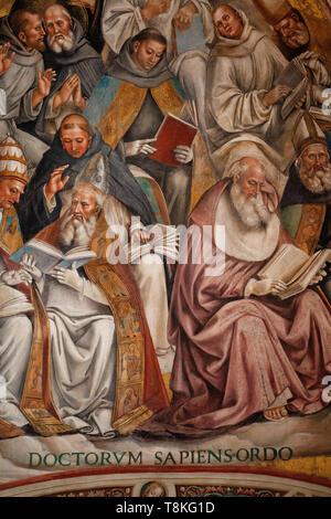 Detail der Signorelli Fresken in der Kapelle von San Brizio im Dom in Orvieto, Umbrien. - Stockfoto