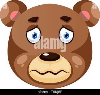 Bär ist krank, Illustration, Vektor auf weißem Hintergrund. - Stockfoto