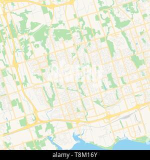 Leeren Vektor Karte von Whitby, Ontario, Kanada, druckbare road map im klassischen Web Farben für infografik Hintergründe erstellt. - Stockfoto