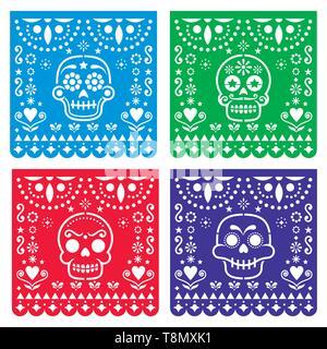 Papel Picado Design mit Zucker Schädel, mexikanische Papier schneiden Sie Muster Kollektion - Halloween, Dia de Los Muertos, Tag der Toten Feier - Stockfoto