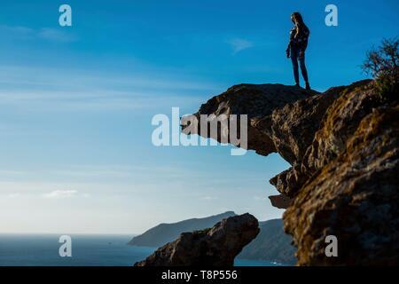 Italien, Sardinien, Bosa, Su Riu e Sa Canna Felsvorsprung - Stockfoto