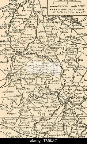 """'Map die Schlacht an der Somme"""" zu illustrieren, (1919). Schöpfer: George Philip & Sohn Ltd. - Stockfoto"""