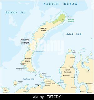 Karte des Archipels Nova Semlja im Arktischen Ozean im Norden Rußlands - Stockfoto