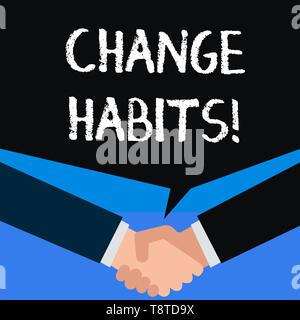 Schreiben Hinweis anzeigen ändern Gewohnheiten. Business Konzept für zu stoppen, etwas zu tun, dass etwas schlecht ist oder schädliche - Stockfoto