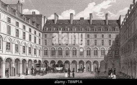 Cour du Ministre des Finances, Paris, antiken Stahl Gravierte drucken, 1831 - Stockfoto