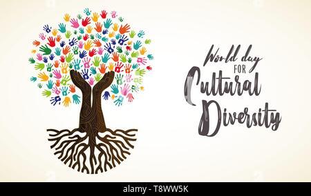 Kulturelle Vielfalt Tag Karte Abbildung. Baum aus der menschlichen Hand druckt zusammen für Liebe und Frieden. - Stockfoto