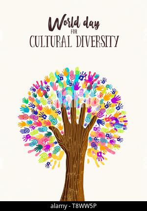 Kulturelle Vielfalt Tag poster Abbildung. Baum aus der menschlichen Hand druckt zusammen für Liebe und Frieden. - Stockfoto