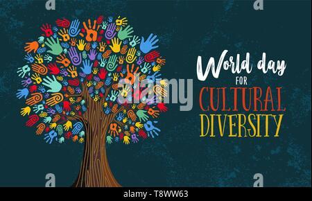 Kulturelle Vielfalt Tag Illustration für Hilfe und soziale Liebe. Baum aus bunten menschliche Hände Konzept. - Stockfoto