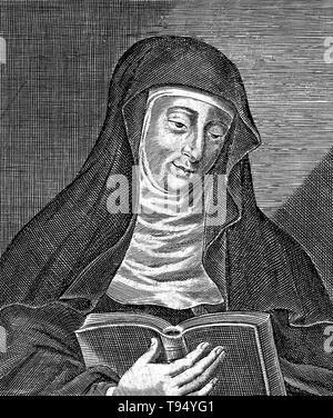 Hildegard von Bingen (1098 - 17. September 1179) war ein deutscher Benediktiner Äbtissin, Autor, Komponist, Philosoph, christliche Mystiker, visionär, und Universalgelehrten. Sie ist der Gründer der wissenschaftlichen Natural History in Deutschland. Eines ihrer Werke als Komponist, der Ordo virtutum, ist ein frühes Beispiel der liturgischen Drama und wohl das älteste erhaltene Moral spielen. - Stockfoto