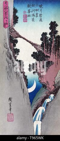 Yumiharizuki. Bogen geformte Mond. Brücke über eine steile Schlucht mit einem Halbmond zwischen den Canyon Wände sichtbar. Seit alten Zeiten die Japaner die Kombination von Schnee, Blumen, Mond betrachtet haben, und die Schönheiten der Natur. Und sie haben nicht nur solche Szenen in Betracht gezogen, Sie haben auch Sie bevorzugt Themen für Malerei und Poesie. Die symbolische Bedeutung der Mond ist eng mit dem Akt der Verjüngung gebunden. - Stockfoto