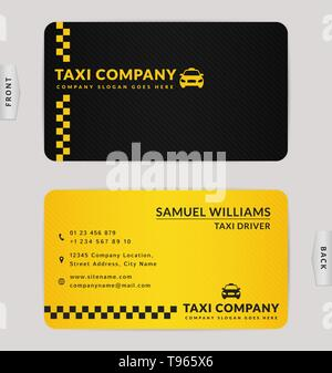Business Card Design in Schwarz und Gelb. Stilvolle vector Template für Taxiunternehmen. - Stockfoto