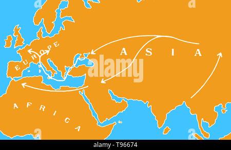 Karte zeigt die Verbreitung des schwarzen Todes im 14. Jahrhundert von Asien über den Nahen Osten, Westeuropa und Nordafrika. Die beulenpest war eine der verheerendsten Pandemien in der Geschichte der Menschen, in den Tod von schätzungsweise 75 bis 200 Millionen Menschen in Eurasien im 14. Jahrhundert führt. Das Bakterium Yersinia pestis, die Ergebnisse in verschiedenen Formen der Pest, wird gedacht, um die Ursache zu haben. Es bewegte sich entlang der Seidenstraße (ein Netzwerk von handelsrouten) und per Schiff und wird geglaubt, durchgeführt wurden und durch die Ratte Flöhe leben auf schwarze Ratten verbreiten. - Stockfoto