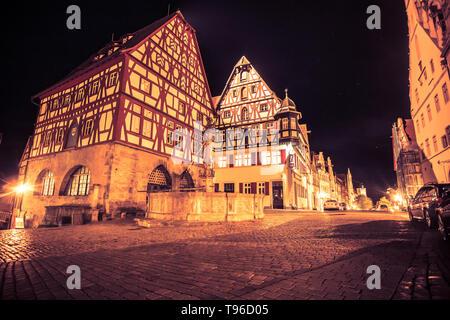 Nacht Szene aus historischen Rothenburg o.d. Tauber in Deutschland - Stockfoto