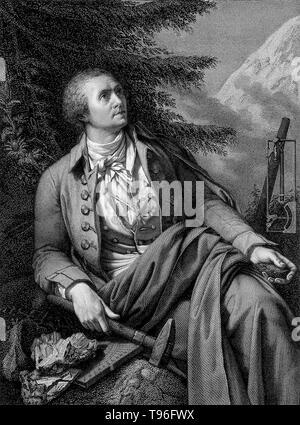 Horace-Bénédict de Saussure (Februar 17, 1740 - Januar 22, 1799) war ein Genfer Geologen, Meteorologe, Physiker, Bergsteiger und Alpin Explorer, der oft auch als Gründer des Alpinismus und des modernen Meteorologie. Er untersucht die Neigung der Schichten, der Art der Gesteine, Fossilien und Mineralien der Alpen. - Stockfoto